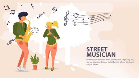 Banner, street musician, Man playing saxophone woman playing flute, musical notes, flat vector illustration cartoon
