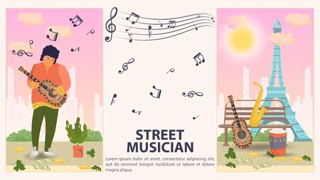 Two vertical banners, for design, street musician, Man playing guitar, musical instruments lying on a bench flat, vector illustration cartoon Reklamní fotografie - 149850176