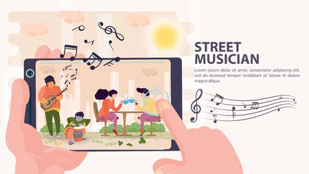 Banner, street musician, Shooting on a mobile phone of musicians, and people sitting at a table with a Cup of tea, flat vector illustration cartoon