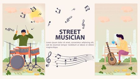 Two vertical banners for design, a street musician, a Man playing drums, a man sitting on a bench next to a guitar, flat vector illustration cartoon