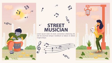 Two vertical banners, for design, street musician, Man playing the drum, girl on the saxophone, flat vector illustration cartoon  イラスト・ベクター素材