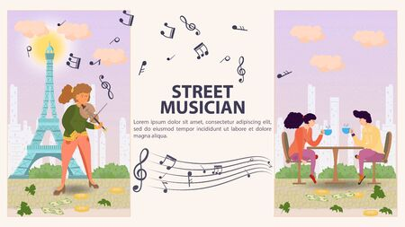 Two vertical banners for design, a street musician, a Girl playing the violin, a guy and a girl sitting at a table with mugs of tea, flat vector illustration cartoon