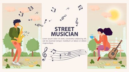 Two vertical banners for design, a street musician, a Man playing a saxophone, a girl sitting on a bench next to a guitar, a flat vector illustration of a cartoon