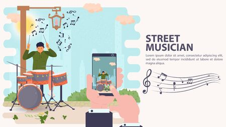 Banner, street musician, mobile phone Shooting of a musician playing a drum kit, drummer, flat vector illustration cartoon