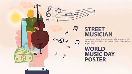 Banner, street musician, world music day Poster, hand holding a mobile phone in it a man plays the double bass, sheet music icons, flat vector illustration cartoon Ilustrace