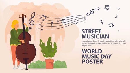 Banner, street musician, world music day Poster, Man playing double bass, sheet music icons, flat vector illustration cartoon