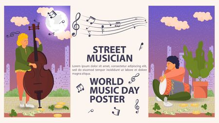 Banner, street musician, world music day Poster, men playing musical instruments at night, musical notes, flat vector illustration cartoon