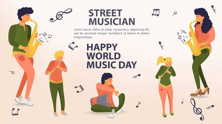 Set of people playing musical instruments, saxophone, flute, drum, men and women, street musician, world music day Poster, sheet music icons, flat vector illustration cartoon