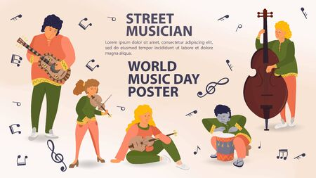 Set of people playing musical instruments, guitar, violin, double bass, men and women, street musician, world music day Poster, sheet music icons, flat vector illustration cartoon Ilustrace