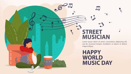 Banner, street musician, world music day Poster, Man playing a big drum next to a plant notes icons, flat vector illustration cartoon Ilustrace