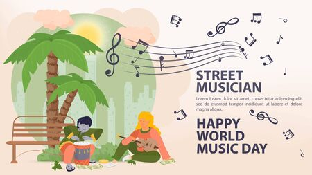 Banner, street, musician world music day Poster, People man and woman playing drums and guitar, under a palm tree, sheet music icons, flat vector illustration cartoon Reklamní fotografie - 150220895
