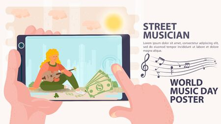 Banner, street musician, Billboard of the world music day, shoot on the phone, a girl sits and holds a musical instrument, in the hands of sheet music icons, flat vector illustration cartoon Ilustrace