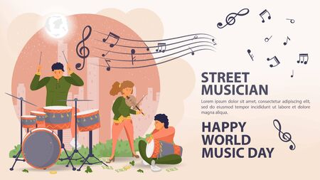 Banner, street musician, world music day Poster, People man and woman playing drums and violin, sheet music icons, flat vector illustration cartoon Ilustrace