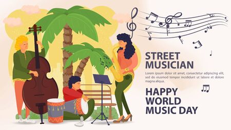 Banner, street musician, world music day Poster, men And women playing double bass, saxophone, drum, palm tree background, music icons, flat vector illustration cartoon