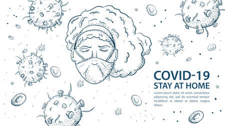 Banner for design, with a quarantine warning, with CO ID-19 molecules, coronavirus 2019-nCoV, a girl in a mask around, her viruses an Outbreak of pndemia, contour illustration Doodle