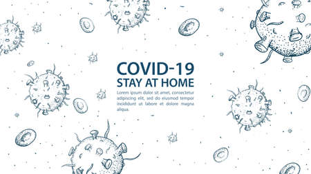 Banner for design, with a quarantine warning, with co ID-19 coronavirus molecules, 2019-nCoV, message to stay home, pandemic Outbreak, outline Doodle illustration