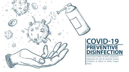 Banner for design, human hand, with CO ID - 19 molecules of coronavirus 2019-nCoV, disinfection with antiseptic spray, contour illustration Doodle
