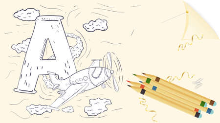 illustration of a banner layout, English alphabet for learning the alphabet, letter A, airplane on a sheet of paper with colored pencils, outline Doodle