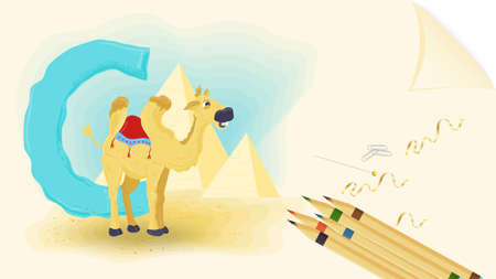 illustration of a banner layout, English alphabet for learning the alphabet, letter C, camel on a sheet of paper with colored pencils Ilustrace