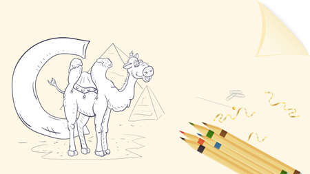 illustration of banner layout, English alphabet for learning the alphabet, letter C, camel on a sheet of paper with colored pencils, outline Doodle