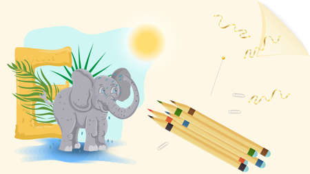 illustration of a banner layout, English alphabet for learning the alphabet, letter E, elephant on a sheet of paper with colored pencils Ilustrace