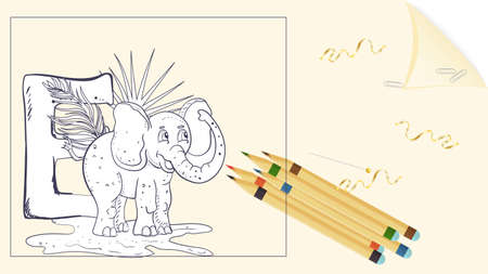 illustration of a banner layout, English alphabet for learning the alphabet, letter E, elephant on a sheet of paper with colored pencils, outline Doodle