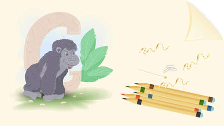 illustration of a banner layout, English alphabet for learning the alphabet, the letter g gorilla, on a sheet of paper with colored pencils