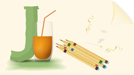 illustration of a banner layout, English alphabet for learning the alphabet, letter J juice, on a sheet of paper with colored pencils Vecteurs