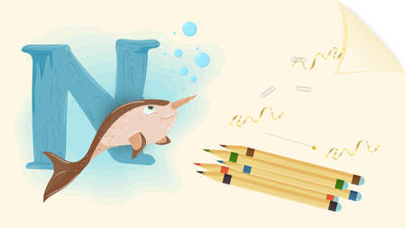 illustration of a banner layout, English alphabet for learning the alphabet, letter N, narwhal on a sheet of paper with colored pencils