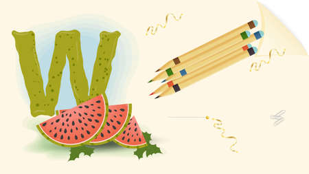illustration of a banner layout, English alphabet for learning the alphabet, the letter W watermelon sheet of paper with colored pencils, outline Doodle Vettoriali