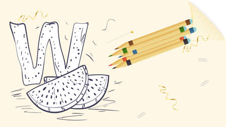 illustration of a banner layout, English alphabet for learning the alphabet, the letter W watermelon sheet of paper with colored pencils, outline Doodle Stock Illustratie