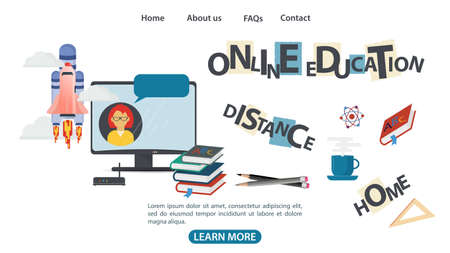 Design, 3 web page banner, on the theme of home school distance online education, using Internet technologies, flat vector illustration cartoon