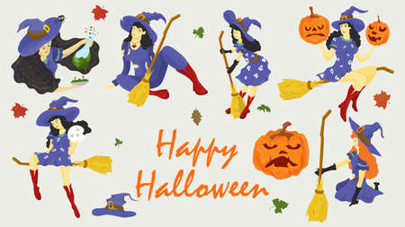 set of illustrations for decoration design, all saints eve, Halloween, witches in different poses, flat style