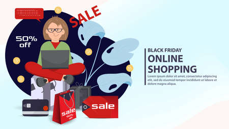 Banner for design design, web pages and mobile apps, Black Friday sale and discounts, girl driving a stroller with purchases, flat vector illustration Vektoros illusztráció