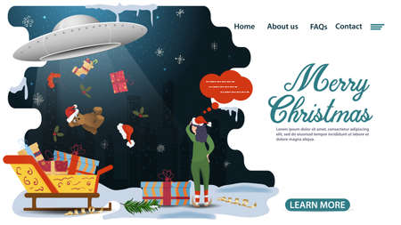 banner for Christmas and new year design, mobile app web pages, UFO steals gifts, flat vector illustration