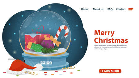 banner for Christmas and new year design, mobile app web pages, glass winter balloon inside gifts, Christmas balls, flat vector illustration