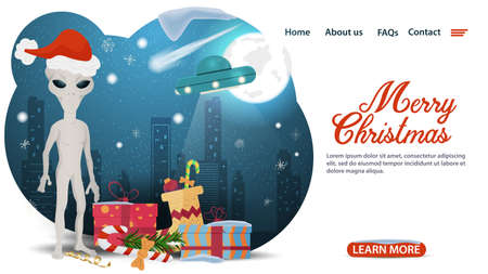 banner for Christmas and new year design, web pages of mobile applications, an Alien in a Santa Claus hat, stands near gifts, UFO on the background of the moon, flat vector illustration Иллюстрация