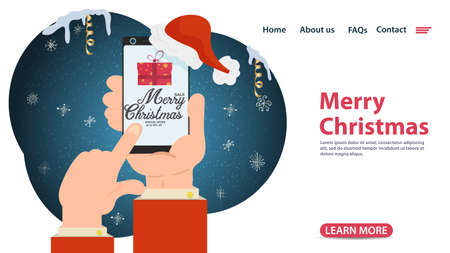 banner for Christmas and new year design, web pages of mobile applications, buying a gift with a discount, through a mobile phone, flat vector illustration