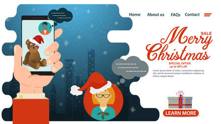 banner for Christmas and new year design, mobile app web pages, buying a discounted gift via mobile phone, chat discussion, flat vector illustration