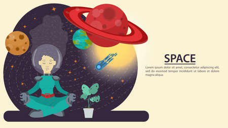 Hands holding a phone, take a picture of a girl in a spacesuit in outer space, on the background of a planet, flat vector drawing for design design Illusztráció