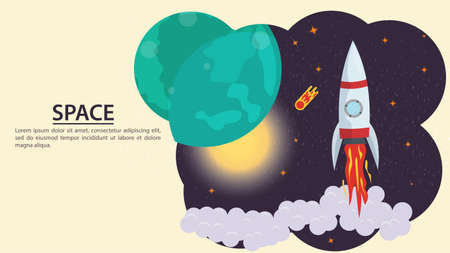 Girl in a space suit in outer space, holding a red flower in her hands, on the background of planets, flat vector drawing for design design