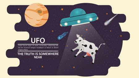 Flying saucer UFO abducts animal a cow, a beam of light on the background of the planets, flat vector illustration for design Illusztráció