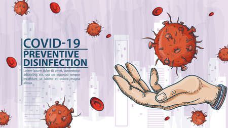 many people in medical masks, among the molecules of COVIND, coronavirus and red virus, 2019-nCoV, warning Label