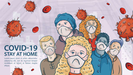 Banner for design OF covind coronavirus prevention, hands holding red virus 2019-nCoV and disinfection agent, warning Label Illusztráció