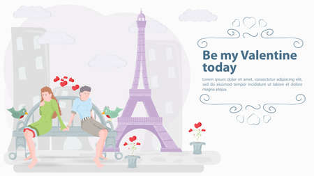 man and woman sitting on a bench, couple in love, on the background of the tower, the inscription congratulations on the holiday, illustration for design design, flat style Illusztráció