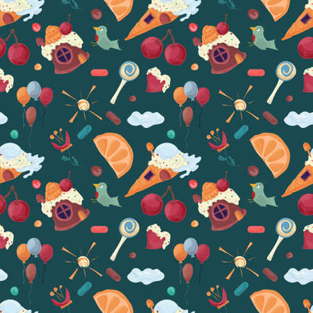 House-baked pastries ice cream among the slices of cut watermelon, illustration of Seamless pattern in flat style cartoon, for registration of design