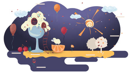 home cooking cakes, in a glade of icing, among trees of flowers, flat vector illustration for design design Illusztráció