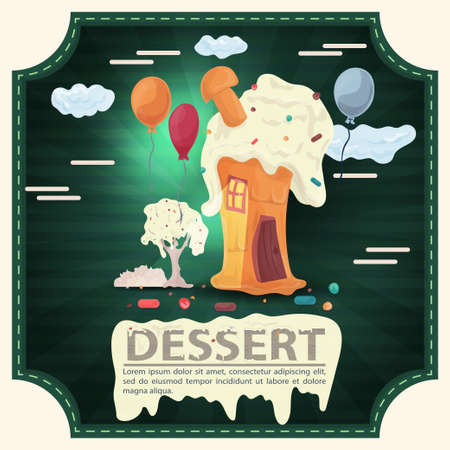 House cake slice with cherry on the roof and icing, with the inscription dessert, square sticker flat design