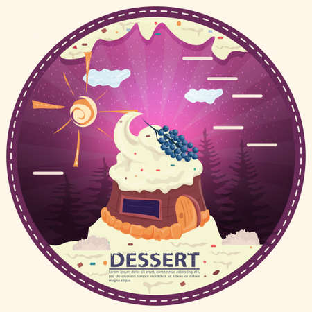chocolate bear with candy, sitting next to gift boxes, labeled dessert, round sticker flat design 向量圖像