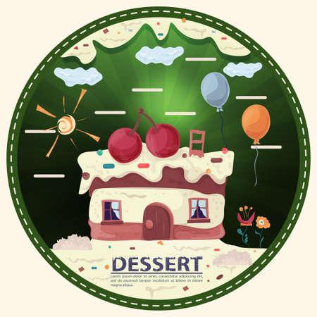 chocolate bear with candy, sitting next to gift boxes, labeled dessert, round sticker flat design Illusztráció